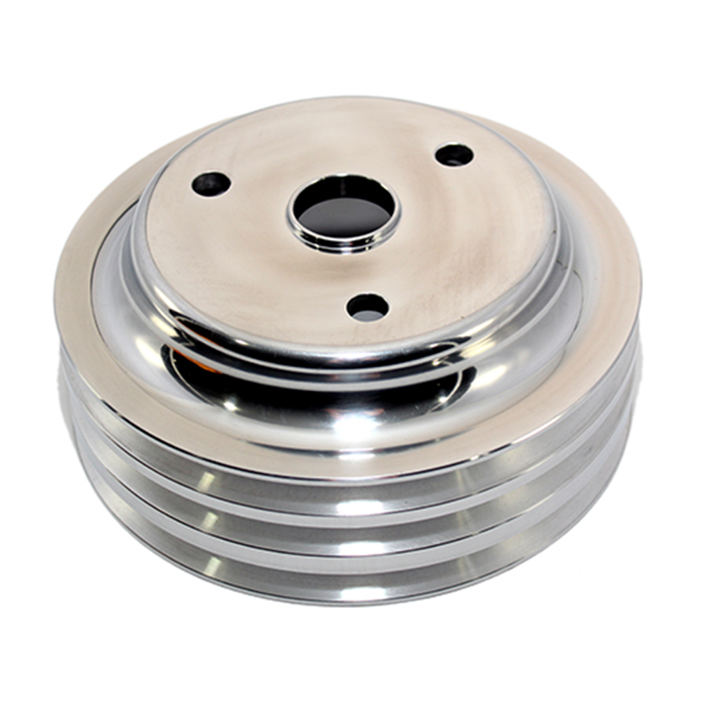 Chevy Small Block 3 Groove Polished Long Water Pump Pulley