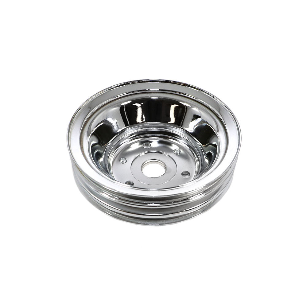 Small Block Chevy 3 Groove Chrome Water Pump Pulley Long