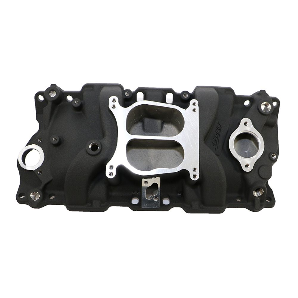 Small Block Chevy Dual Plane Black Intake Manifold