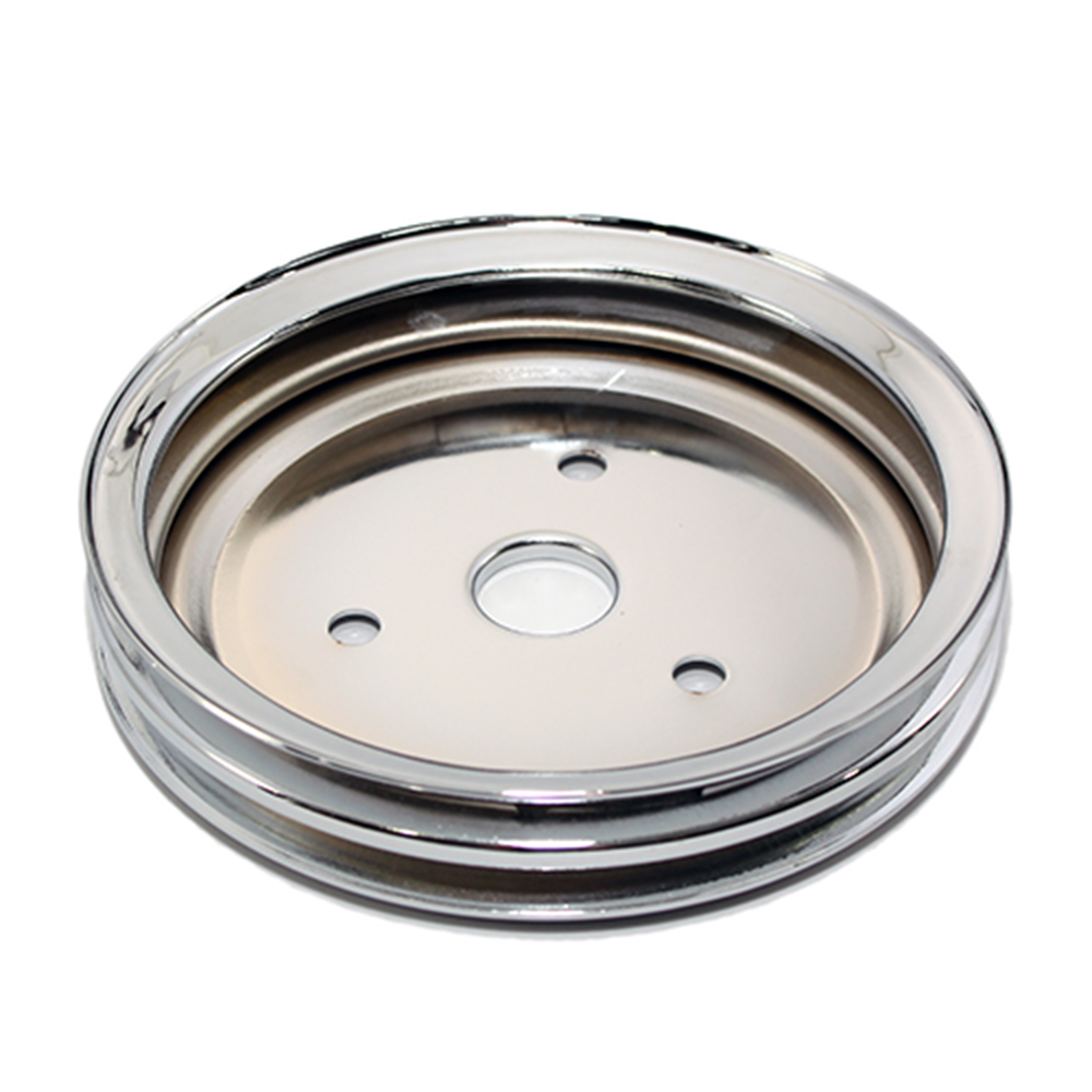 Chevy Small Block 2 Groove Chrome Short Water Pump Pulley