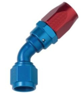FRAGOLA PERFORMANCE SYSTEMS SERIES 2000 PRO-FLOW HOSE ENDS 224508 FITTING, HOSE END, REUSABLE, 45 DEGREE, -8 AN HOSE TO FEMALE -8 AN, ALUMINUM, BLUE ANODIZED FRA-224508