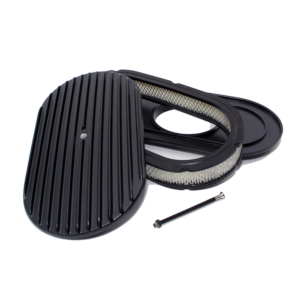 Finned Air Cleaner : Quot oval finned black air cleaner assault racing