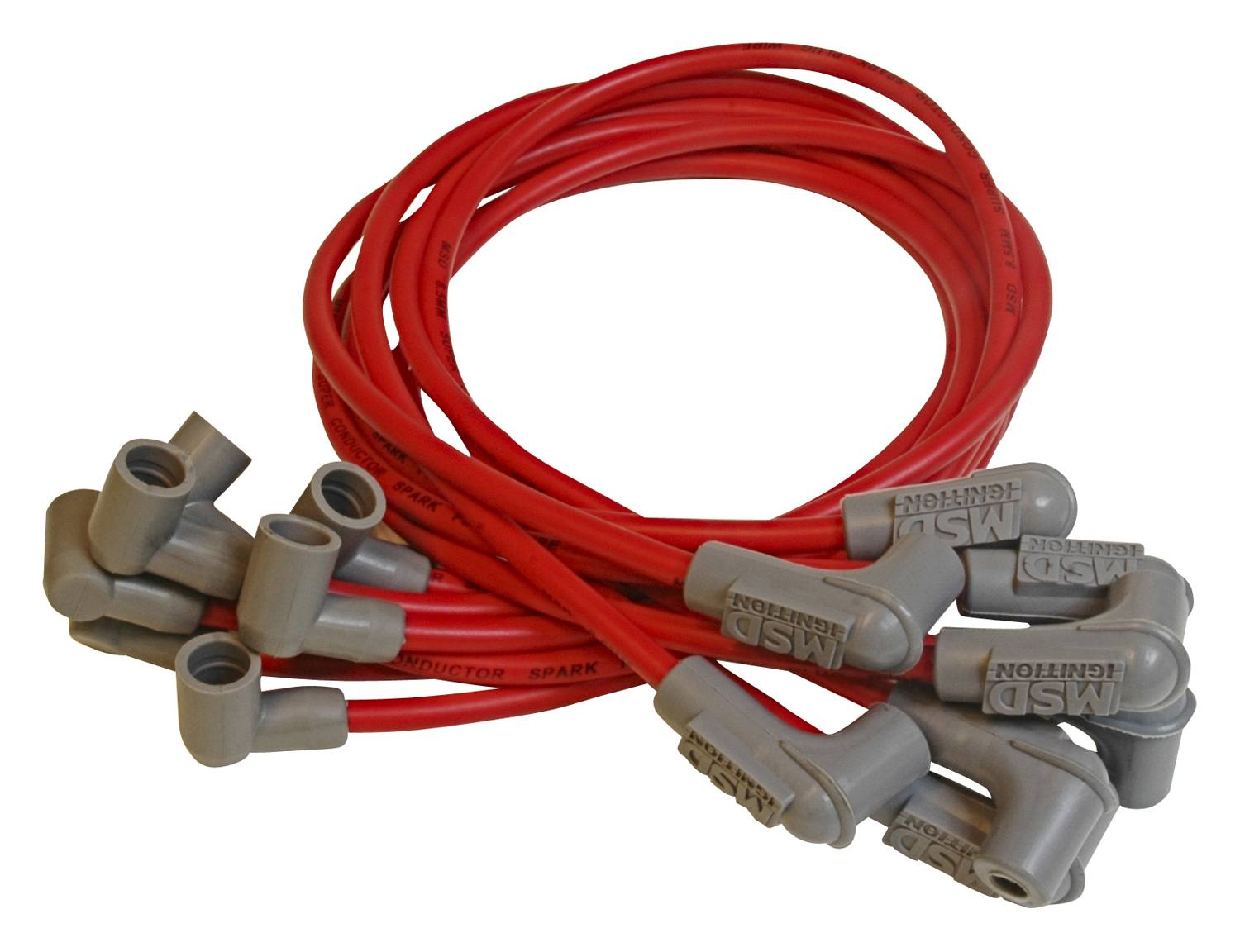 MSD Spark Plug Wire Set 31609; Super Conductor 8.5mm Red 90° for Chevy BBC