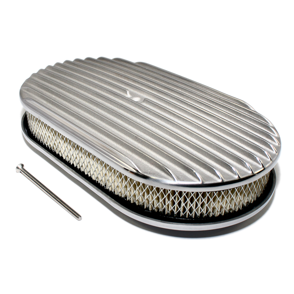Finned Air Cleaner : Quot oval finned polished air cleaner assault