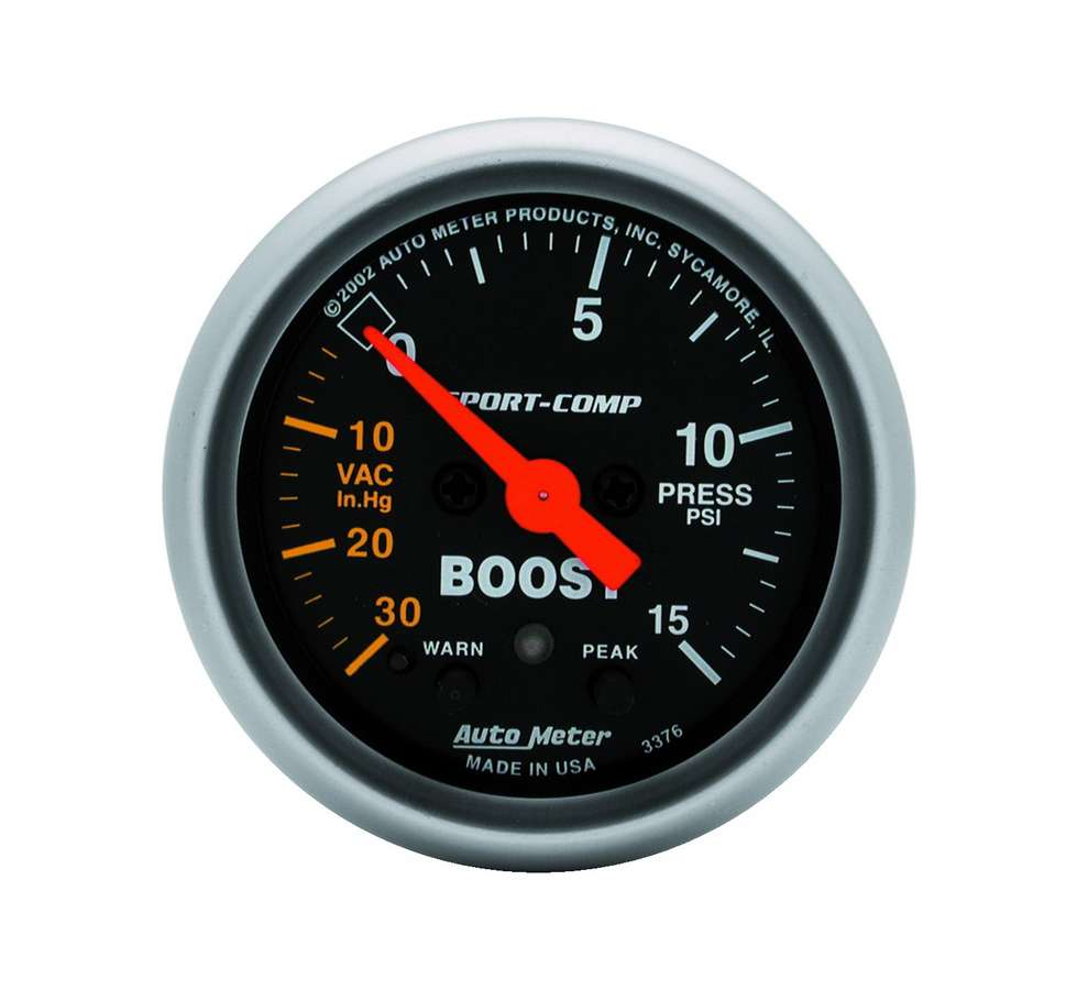 Sport Comp 2-1//16 0-15 PSI Mechanical Boost Gauge 3350 Auto Meter