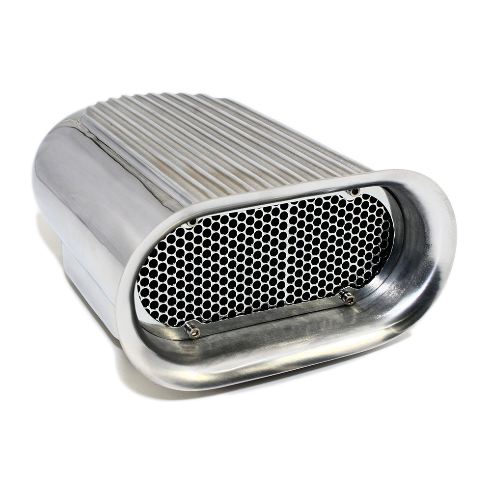 Edelbrock Air Scoop : Polished finned quot hilborn style air scoop assault