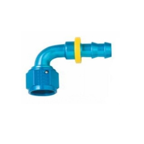FRAGOLA PERFORMANCE SYSTEMS SERIES 8000 4AN PUSH LOCK FITTING 209004 90 DEGREE HOSE END BLACK BLUE