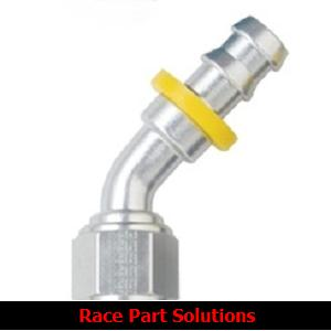 FRAGOLA PERFORMANCE SYSTEMS SERIES 8000 PUSH-LITE RACE HOSE ENDS 204508-CL 45 DEGREE FITTING CLEAR
