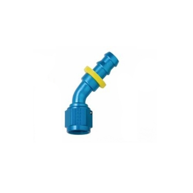 FRAGOLA PERFORMANCE SYSTEMS SERIES 8000 PUSH-LITE RACE HOSE ENDS 204510 45 DEGREE FITTING BLUE