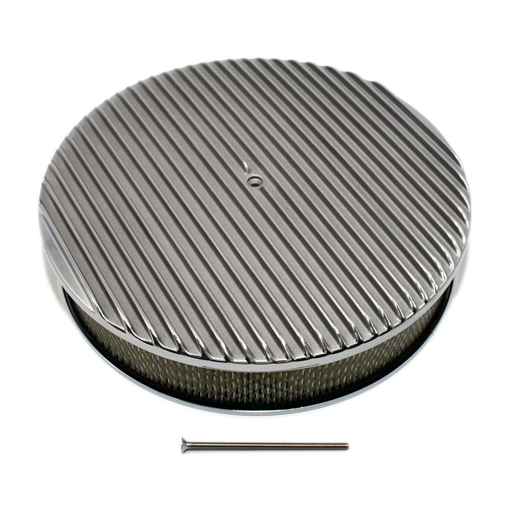 Round Air Cleaners For Tractors : Quot round finned top polished air cleaner assault