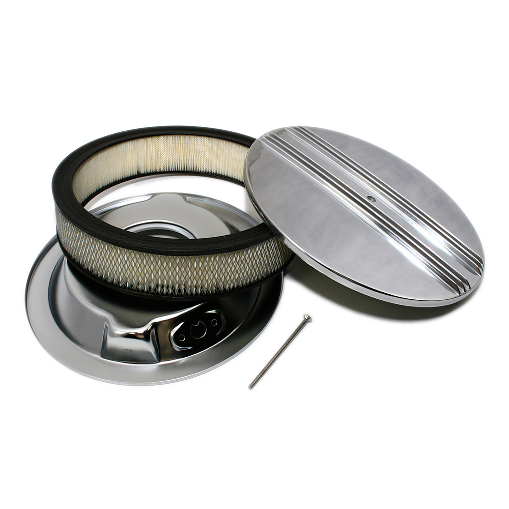 Round Air Cleaners For Tractors : Quot round half finned top polished air cleaner