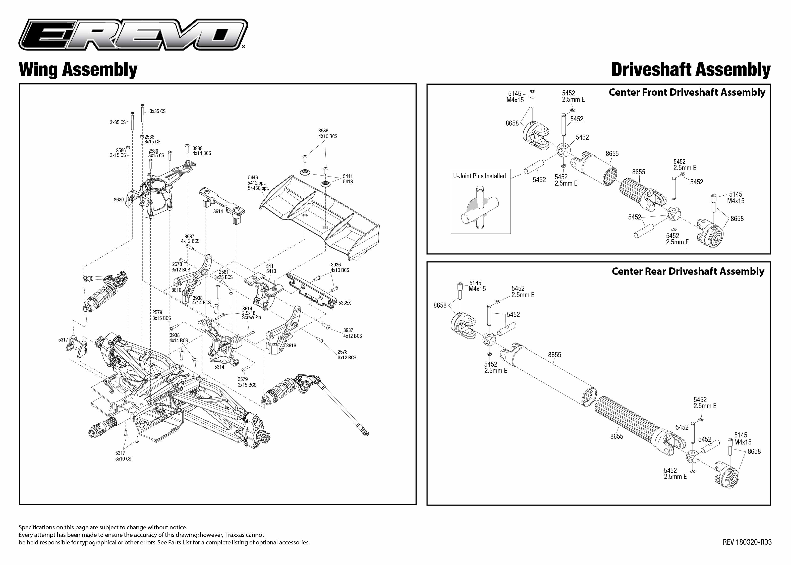 E Revo 2 Vxl Brushless 1 10 Scale 4wd Etheridge Race Parts Rustler Traxxas Brushed Quick Start Manual Exploded View Driveshafts Assembly