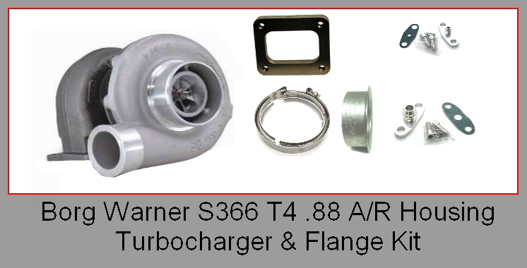 BORG WARNER S366 177281 TURBO AND FLANGE KIT