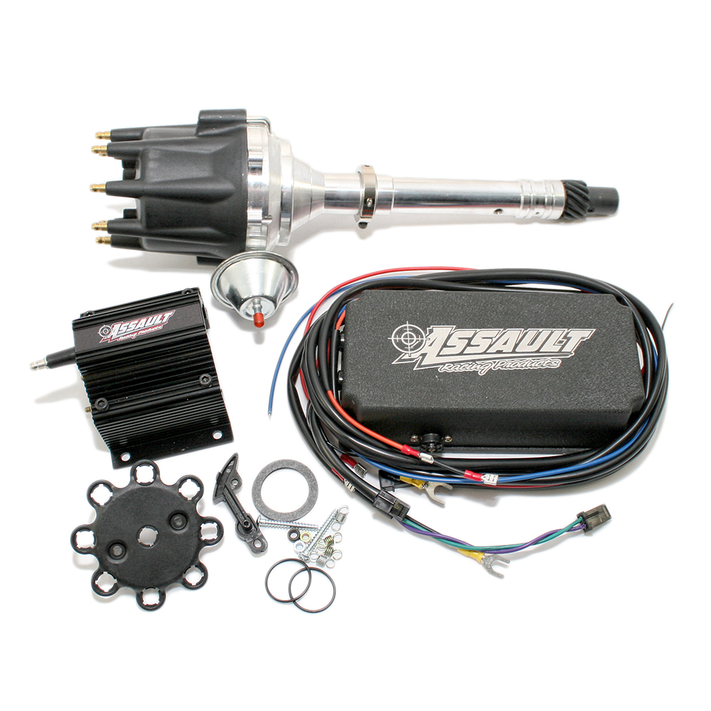 Shop For Distributors Assault Racing Products 327 Chevy Distributor Cap Wiring Diagram V8 Black Ignition Kit W Vacuum Box Coil