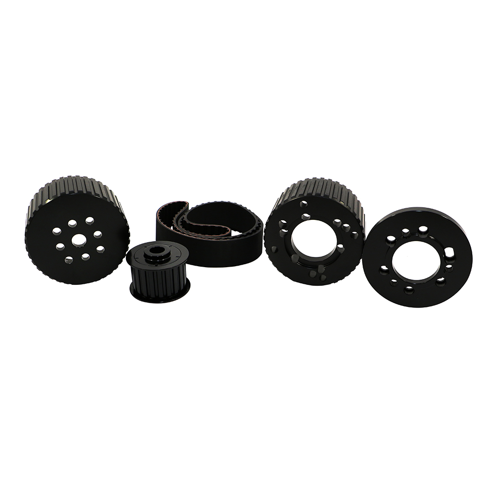 Small Block Mopar Black Billet Aluminum Gilmer Belt Drive Pulley Kit ...