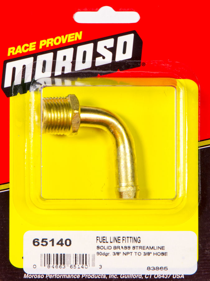 """Moroso 65380 Fuel Hose Fittings; 3//8/"""" NPT to 3//8/"""" Hose; two per package"""